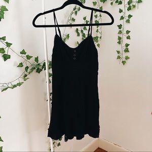 Black Spaghetti Strap Babydoll Mini Dress